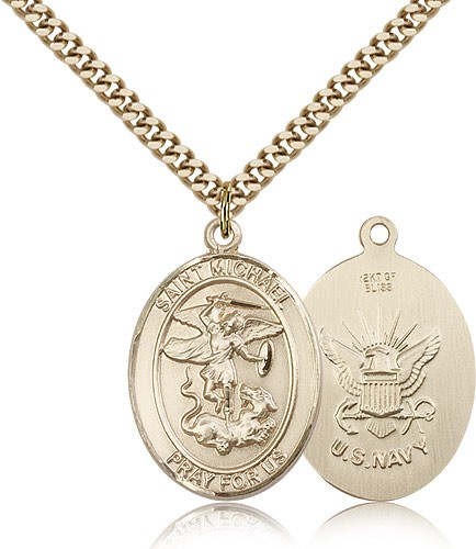 St. Michael Navy Medal - 14KT Gold Filled