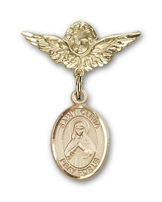 Pin Badge with St. Olivia Charm and Angel with Smaller Wings Badge Pin - 14K Yellow Gold