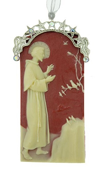 St. Francis of Assisi Christmas Ornament - Red