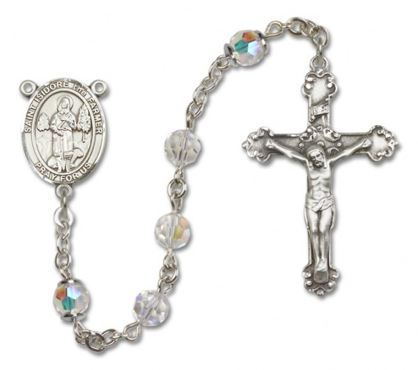 St. Isidore the Farmer Sterling Silver Heirloom Rosary Fancy Crucifix - Crystal