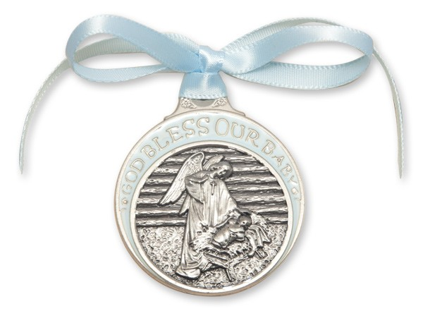 Boy's Blue Ribbon Angel in Manger Crib Medal in Pewter - Silver | Blue