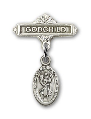 Pin Badge with St. Christopher Charm and Godchild Badge Pin - Sterling Silver