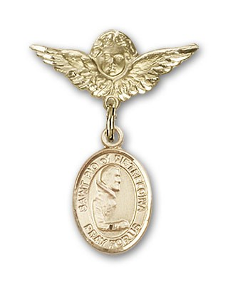 Pin Badge with St. Pio of Pietrelcina Charm and Angel with Smaller Wings Badge Pin - 14K Yellow Gold