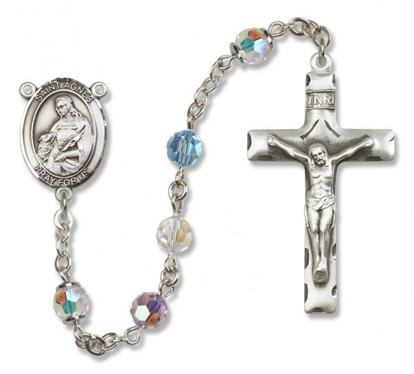 St. Agnes of Rome Rosary Heirloom Squared Crucifix - Multi-Color