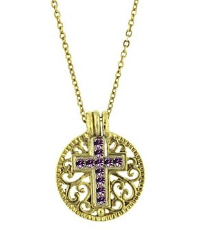 Amethyst Cross Pendant and Medallion Necklace Gold Tone - Amethyst