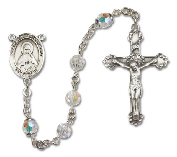 Immaculate Heart of Mary Sterling Silver Heirloom Rosary Fancy Crucifix - Crystal