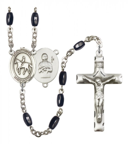 Men's St. Kateri Equestrian Silver Plated Rosary - Black | Silver