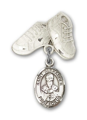 Pin Badge with St. Alexander Sauli Charm and Baby Boots Pin - Silver tone