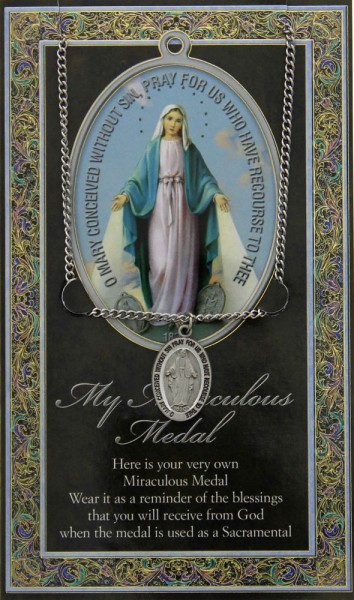 Miraculous Medal in Pewter with Bi-Fold Prayer Card - Silver tone