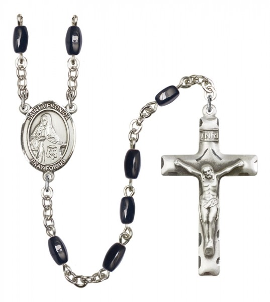 Men's St. Veronica Silver Plated Rosary - Black | Silver