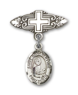 Pin Badge with St. Bonaventure Charm and Badge Pin with Cross - Silver tone