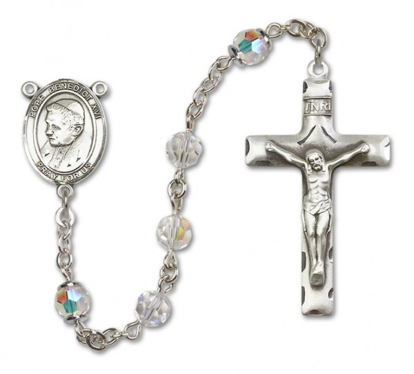 Pope Benedict XVI Rosary Heirloom Squared Crucifix - Crystal