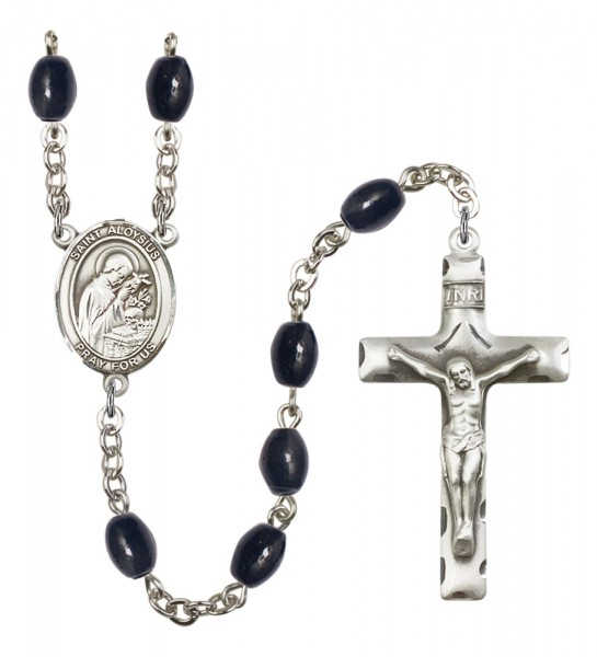 Men's St. Aloysius Gonzaga Silver Plated Rosary - Black Oval