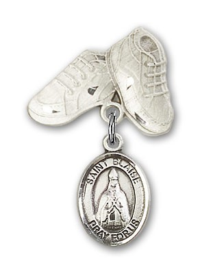 Pin Badge with St. Blaise Charm and Baby Boots Pin - Silver tone