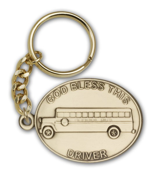 God Bless This Bus Driver Keychain - Antique Gold