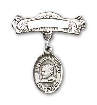 Pin Badge with St. John Bosco Charm and Arched Polished Engravable Badge Pin - Silver tone
