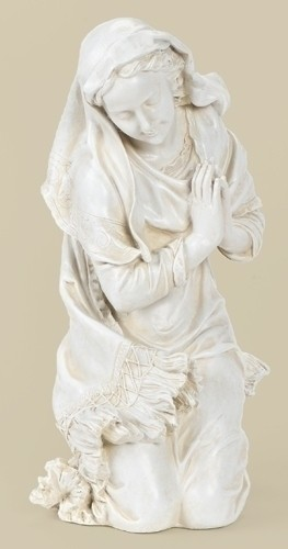 "Kneeling Mary Statue 16"" H for 27"" Scale Nativity Set - Natural Stone"