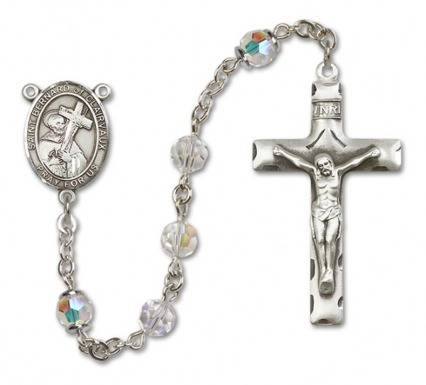 St. Bernard of Clairvaux Sterling Silver Heirloom Rosary Squared Crucifix - Crystal