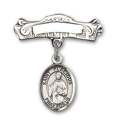 Pin Badge with St. Placidus Charm and Arched Polished Engravable Badge Pin - Silver tone