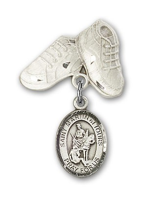Pin Badge with St. Martin of Tours Charm and Baby Boots Pin - Silver tone