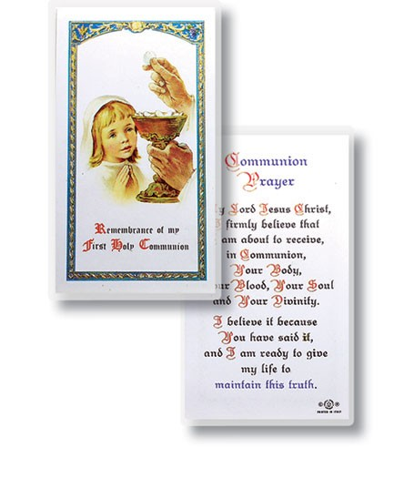 Communion Girl Laminated Prayer Cards 25 Pack - Full Color
