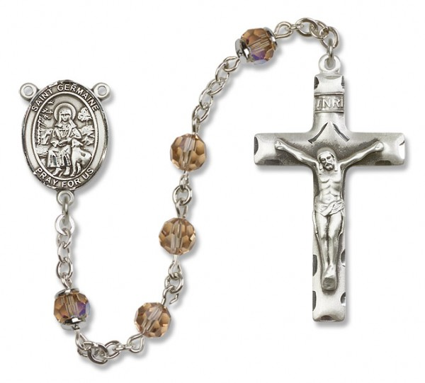 St. Germaine Cousin Sterling Silver Heirloom Rosary Squared Crucifix - Topaz