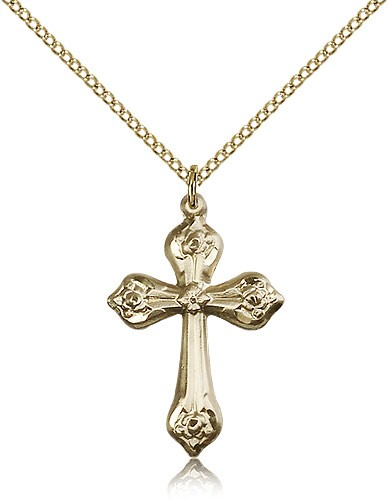 Dainty Tip Women's Cross Necklace - 14KT Gold Filled
