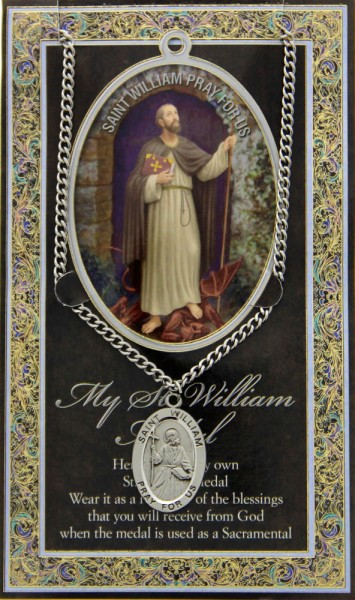 St. William The Confessor Medal in Pewter with Bi-Fold Prayer Card - Silver tone