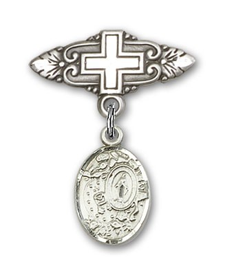 Pin Badge with Miraculous Charm and Badge Pin with Cross - Silver tone