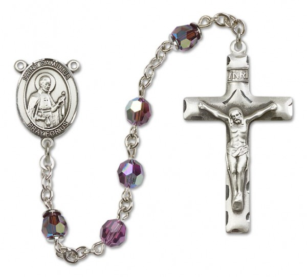 St. Camillus of Lellis Sterling Silver Heirloom Rosary Squared Crucifix - Amethyst