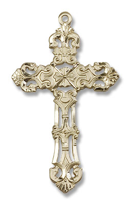 Cross Pendant Fleur de Lis - 14K Yellow Gold