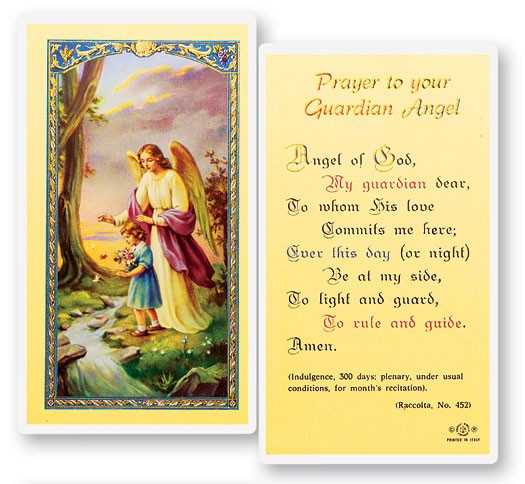Prayer To Guardian Angel, Girl Laminated Prayer Cards 25 Pack - Full Color