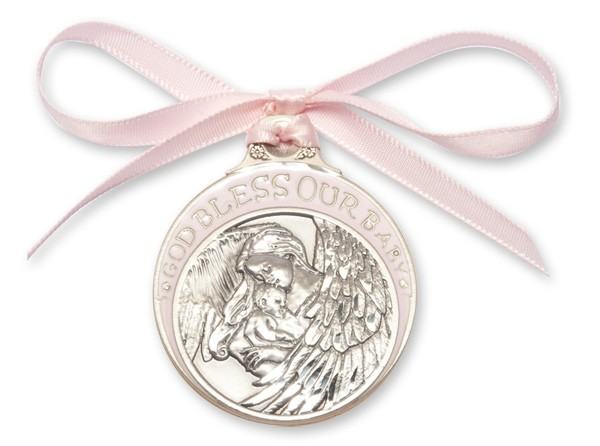 Girl's Pink Ribbon Guardian Angel Crib Medal in Pewter - Silver | Pink