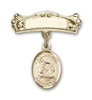 Pin Badge with St. Joshua Charm and Arched Polished Engravable Badge Pin - Gold Tone