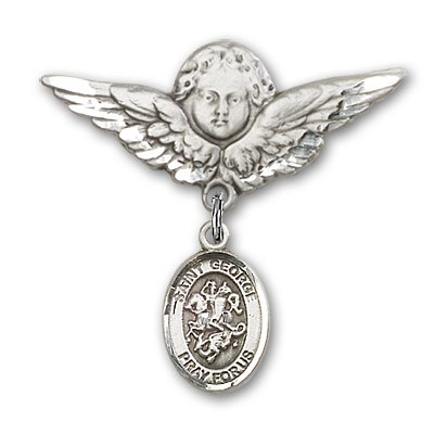 Pin Badge with St. George Charm and Angel with Larger Wings Badge Pin - Silver tone