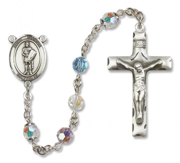 St. Florian Sterling Silver Heirloom Rosary Squared Crucifix - Multi-Color