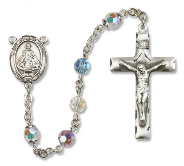 Infant of Prague Sterling Silver Heirloom Rosary Squared Crucifix - Multi-Color