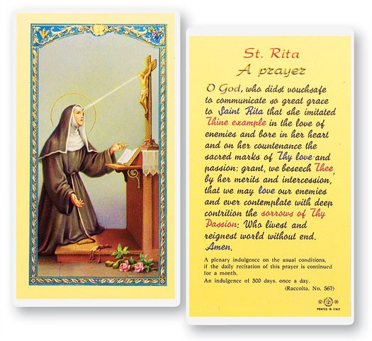 Prayer To St. Rita Laminated Prayer Cards 25 Pack - Full Color