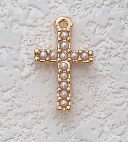 "Child's Pearl Cross Necklace - 16""L - Gold Tone"