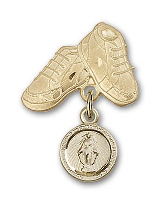Baby Pin with Miraculous Charm and Baby Boots Pin - 14K Solid Gold