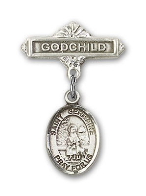 Pin Badge with St. Germaine Cousin Charm and Godchild Badge Pin - Silver tone