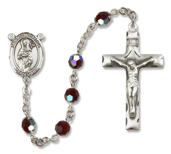 St. Scholastica Sterling Silver Heirloom Rosary Squared Crucifix - Garnet