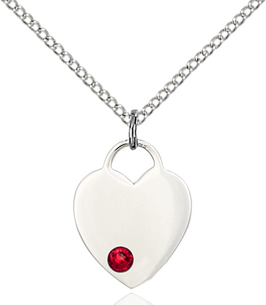 Small Heart Shaped Pendant with Birthstone Options - Ruby Red