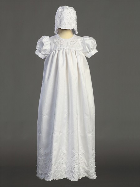 Embroidered Shantung Long Length Baptism Gown - White