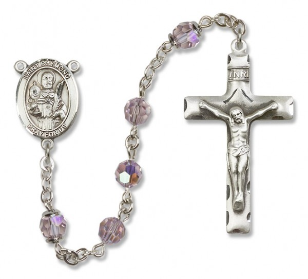 St. Raymond Nonnatus Sterling Silver Heirloom Rosary Squared Crucifix - Light Amethyst