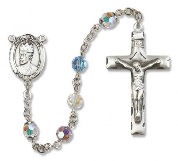 St. Edward the Confessor Sterling Silver Heirloom Rosary Squared Crucifix - Multi-Color