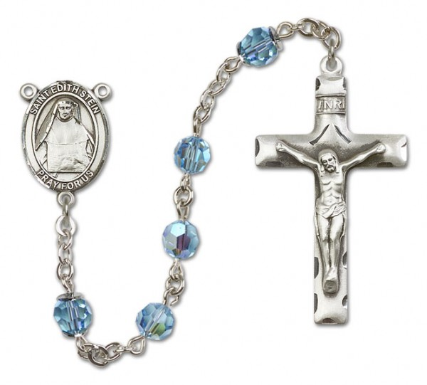 St. Edith Stein Sterling Silver Heirloom Rosary Squared Crucifix - Aqua