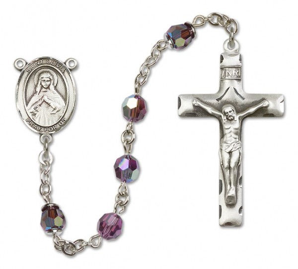 St. Olivia Sterling Silver Heirloom Rosary Squared Crucifix - Amethyst