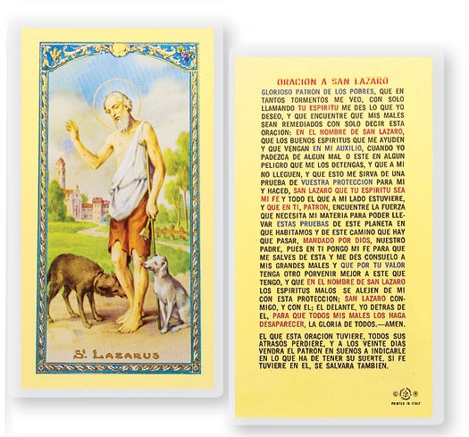Oracion A San Lazaro Laminated Spanish Prayer Cards 25 Pack - Full Color