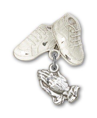 Baby Pin with Praying Hands Charm and Baby Boots Pin - Silver tone